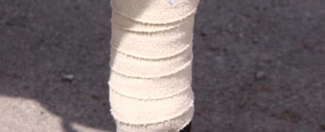 bandage on the leg of horse